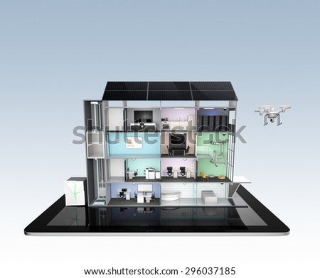 Smart office building on tablet PC. The smart office's energy support by solar panel, storage to battery system. 3D rendering image with clipping path. - stock photo