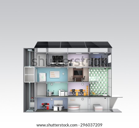 Smart office concept. Energy support by solar panel, storage to battery  system. 3D rendering image with clipping path. - stock photo
