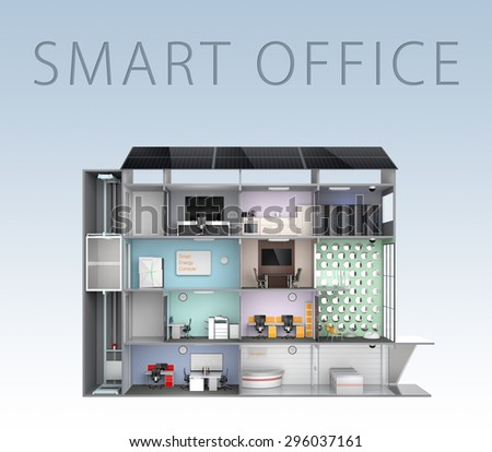 Smart office concept. Energy support by solar panel, storage to battery system. (With text) 3D rendering image with clipping path. - stock photo