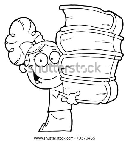 Smart Outlined School Girl Carrying A Stack Of Books - stock photo