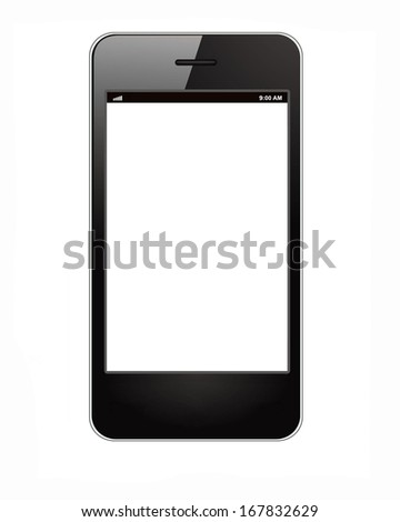 Smart phone alike iphone isolated on white background - stock photo