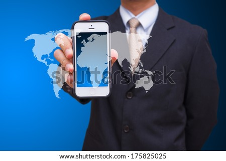 Smart phone and business man - stock photo