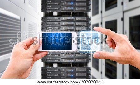 Smart phone and File control the system  - stock photo