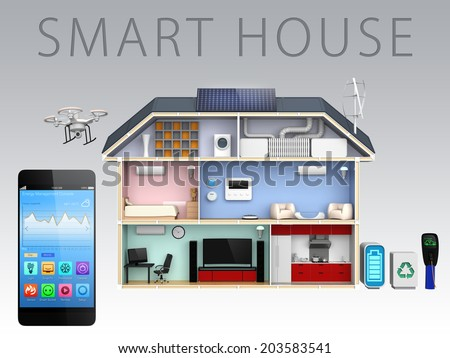 Smart phone and home energy management apps for smart house. (With text) - stock photo