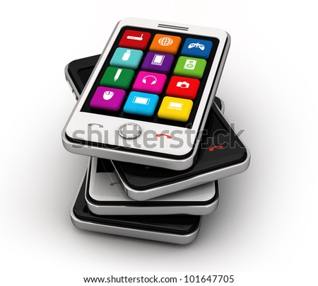 Smart-phone and interface icons black and white mobile smart phone  isolated on white. This is a detailed 3D render. - stock photo