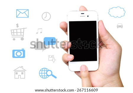 Smart phone and internet of things icons background, technology concept - stock photo