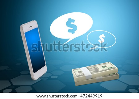 Smart phone and Stack of dollars