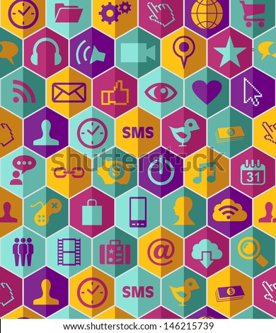 Smart phone app icon set seamless pattern background. Vector file layered for easy manipulation and customisation.  - stock photo