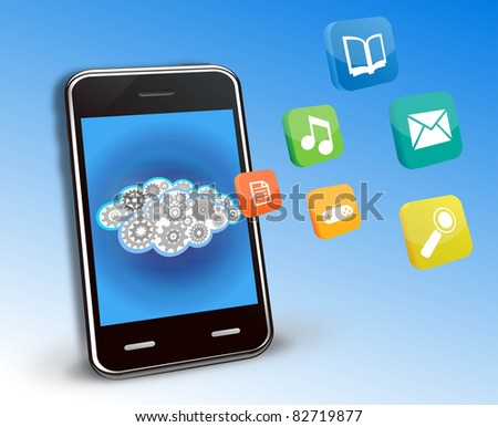 smart phone applications and cloud background - stock photo