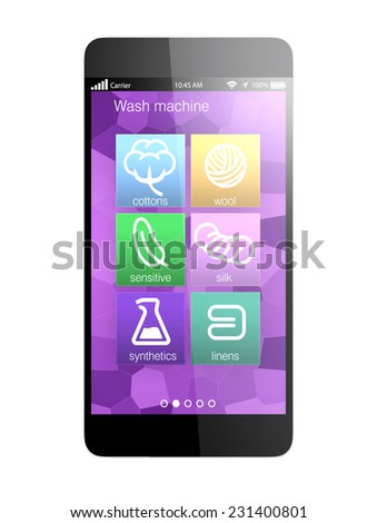 Smart phone apps for monitoring wash machine, concept for IoT (Internet of things) - stock photo