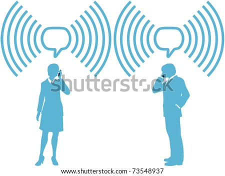 Smart phone business people phone talk in wireless speech bubble copy space - stock photo