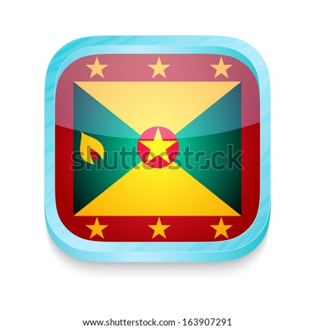 Smart phone button with Grenada flag - stock photo