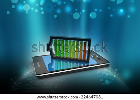 Smart phone charging with battery - stock photo