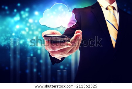 Smart phone cloud connectivity service theme with business man - stock photo