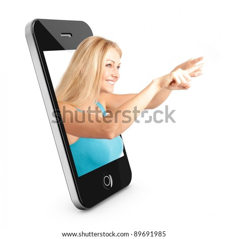 Smart phone Concept with beautiful blonde woman reaching out of the phone interface