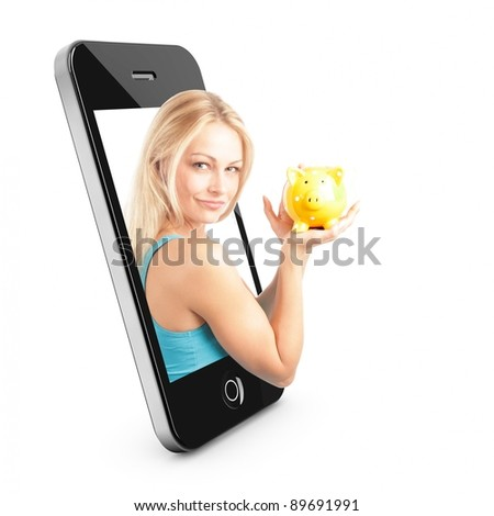 Smart phone Concept with beautiful blonde woman reaching out of the phone interface with piggy bank