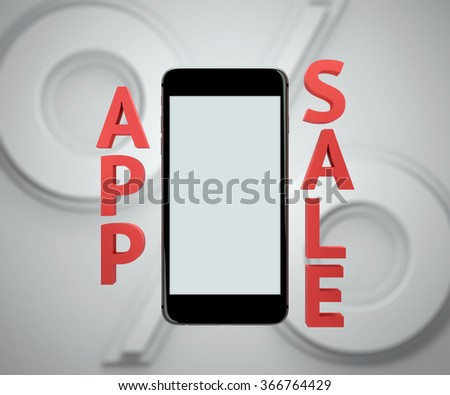 Smart phone display - app sale mockup. Clipping path included. - stock photo