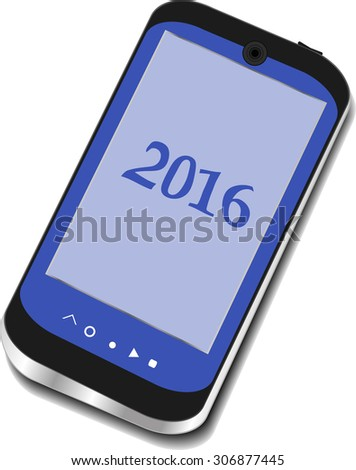 smart phone icon isolated on white with a 2016 sign