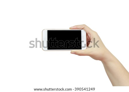 Smart phone in hand isolated on white background