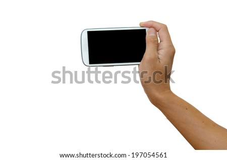 smart phone in hand isolated white background.