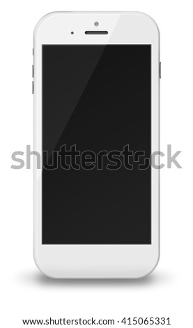 Smart phone in iphon style with black screen and shadows isolated on white background. 3D illustration.