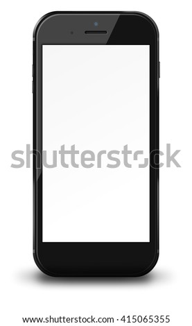 Smart phone in iphon style with blank screen and shadows isolated on white background. 3D illustration.