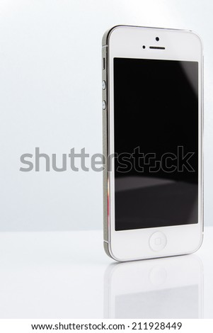 Smart phone isolated on white - stock photo