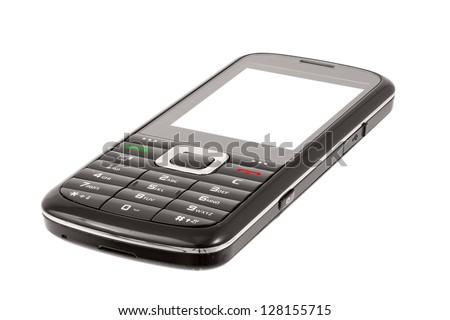 Smart phone isolated on white background. Focus stack. - stock photo
