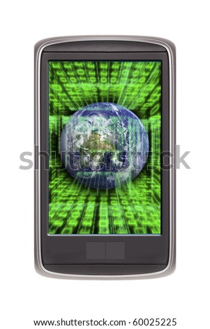 Smart phone isolated on white (original design) with earth and code on the screen - stock photo