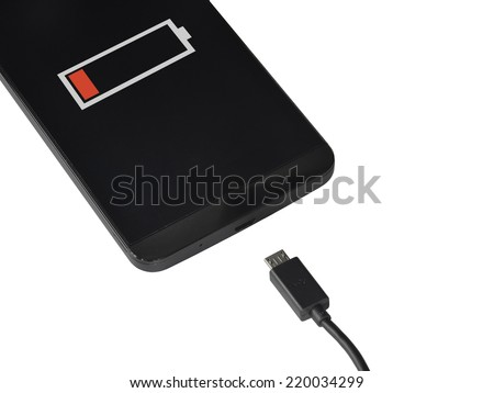 smart phone low battery isolated on white - stock photo