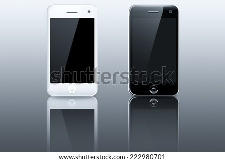 Smart phone (mobile phone) isolated on white background - stock photo