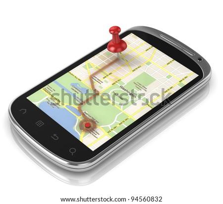 smart phone navigation - mobile gps 3d concept - stock photo