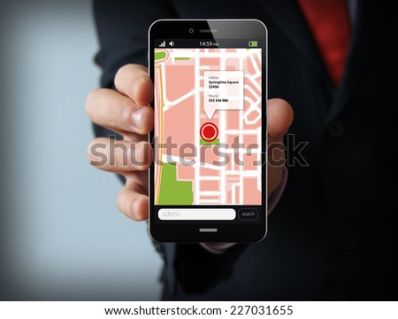smart phone navigation - mobile gps 3d concept: location app on touchscreen smartphone - stock photo