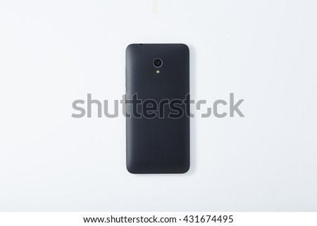 Smart Phone on Top View Isolated on White Background