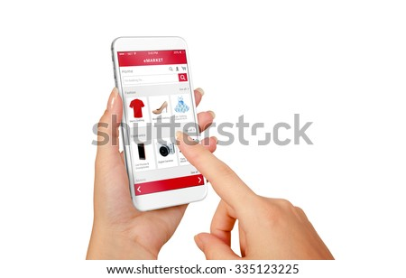 Smart phone online shopping in woman hand isolated. Buy clothes shoes accessories with e commerce web site - stock photo
