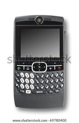 smart phone or pda on an isolated white background with shadow and clipping path - stock photo