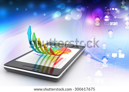 Smart phone showing a growth graph  and a pie chart - stock photo