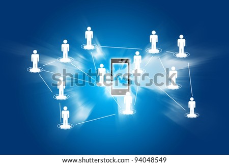 Smart phone social network concept background - stock photo