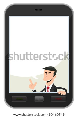 Smart phone Speech Bubble/ Illustration of a cartoon businessman inside smart phone background with speech  bubble