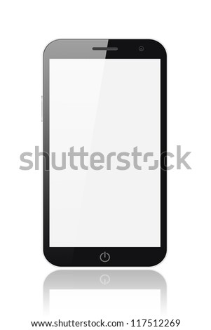 Smart phone-tablet pc with blank screen isolated on white background - stock photo
