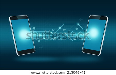 Smart phone technology internet transfer connection background