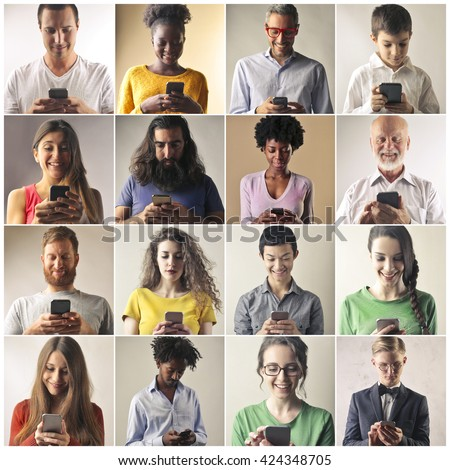 Smart phone users - stock photo