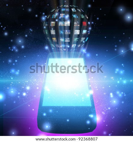 Smart Phone Video Sphere or Image Sphere - stock photo
