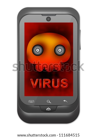 Smart Phone Virus Concept Present By Black Smart Phone With Skull and Virus Alert Message on Screen Isolated on White Background - stock photo