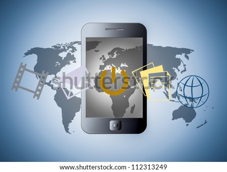 smart phone with applications - stock photo