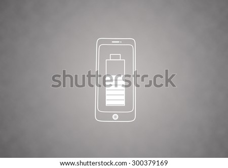 Smart phone with battery icon - stock photo