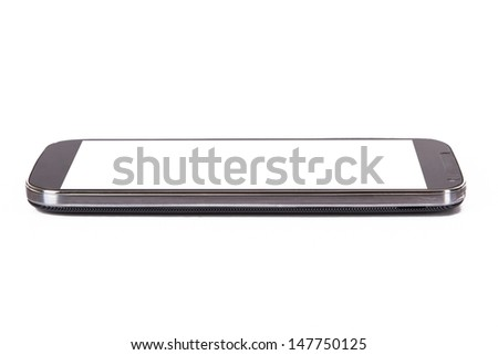 Smart phone with blank, white screen, side view, isolated on white background. - stock photo