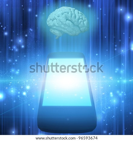 Smart Phone with Brain - stock photo