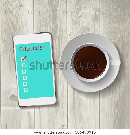 Smart phone with check list.    illustration.