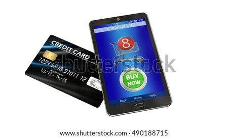 Smart phone with credit Card - mobile payment concept  - 3d rendering
